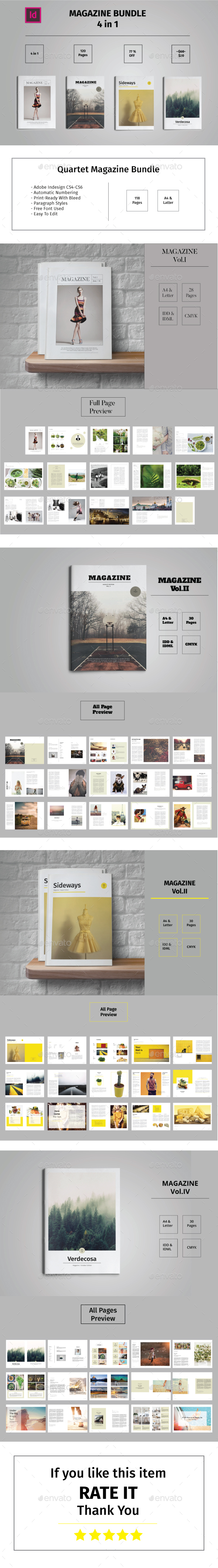 Quartet Magazine Bundle - Magazines Print Templates