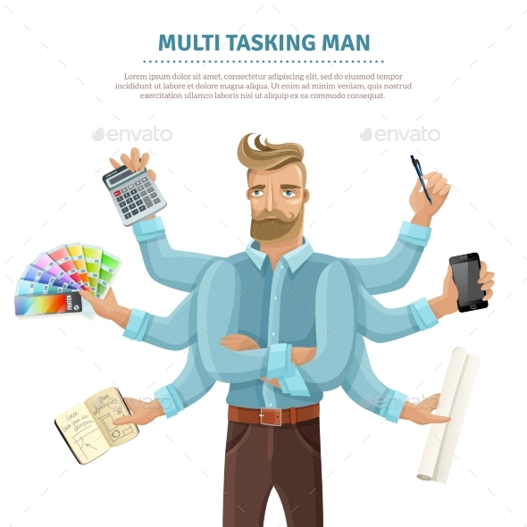 Multitasking Man Flat Poster - Business Conceptual
