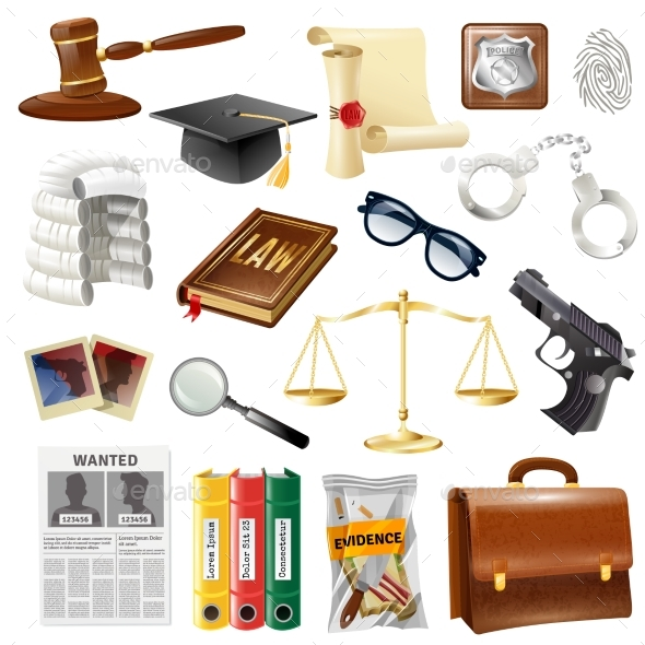 Law Justice Objects And Symbols Collection - Objects Vectors