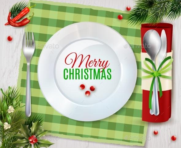 Cristmas Dinner Cutlery Realistic Composition - Seasons/Holidays Conceptual