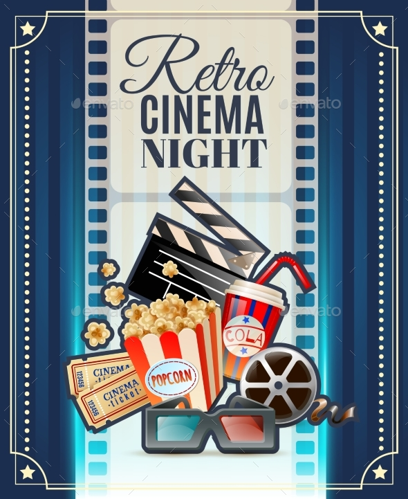 Retro Cinema Night Invitation Poster - Conceptual Vectors