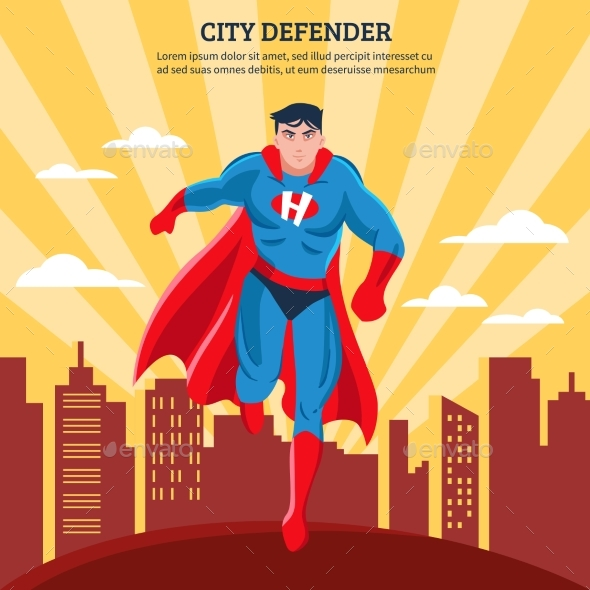 City Defender Flat Vector Illustration - People Characters