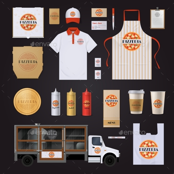 Pizza Corporate Identity Template Design Set - Business Conceptual