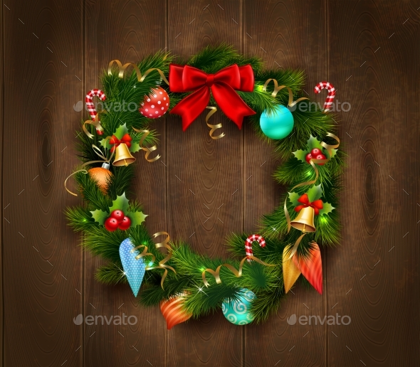 Festive Christmas Wreath Poster - Seasons/Holidays Conceptual
