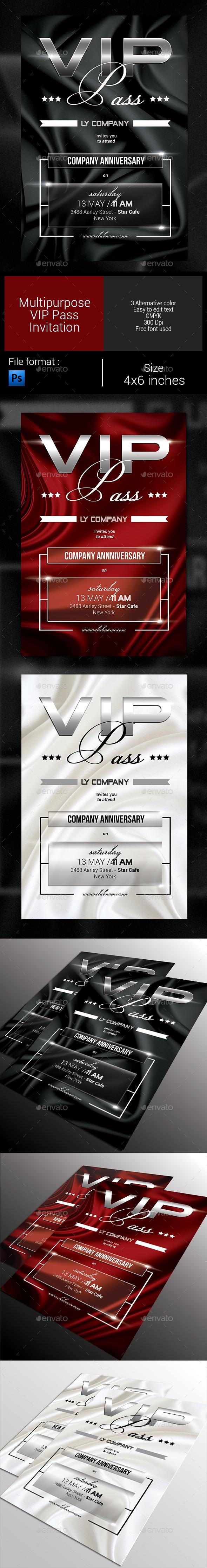 Multipurpose VIP Pass Invitation - Invitations Cards & Invites
