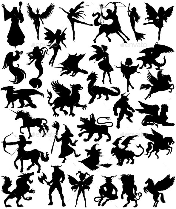 Mythical Creatures Silhouettes - Miscellaneous Characters