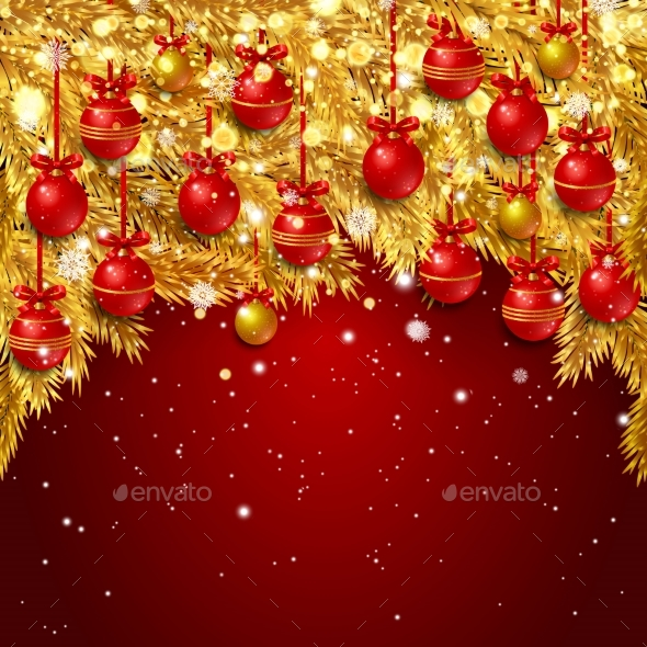 New Year Background with Fir Branches - Christmas Seasons/Holidays