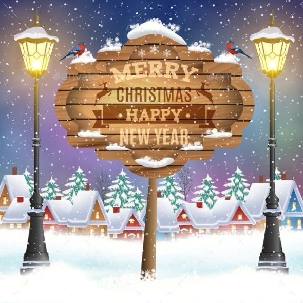 Christmas Vintage Greeting Card on Winter Village - Christmas Seasons/Holidays