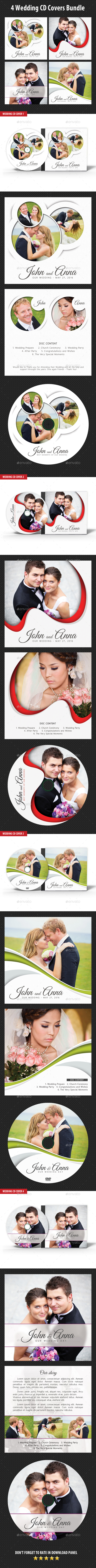 4 in 1 Wedding CD Cover Templates Bundle - CD & DVD Artwork Print Templates