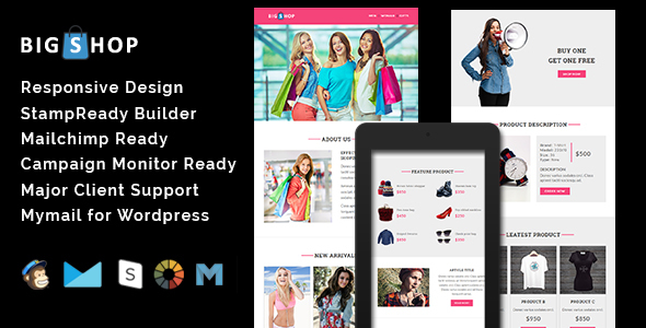 BIGSHOP - Responsive Email Template + Stamp Ready Builder - Email Templates Marketing