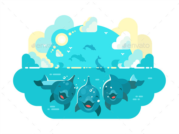 Happy Dolphins Swim and Jump - Animals Characters