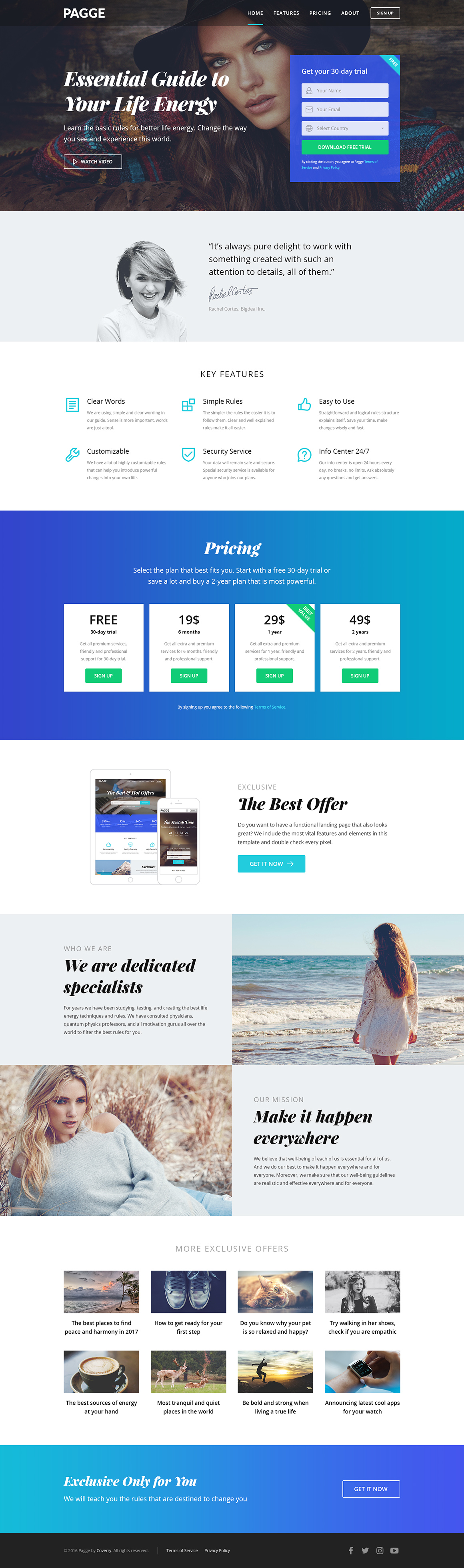 Pagge - Landing Page HTML Templates by coverry | ThemeForest