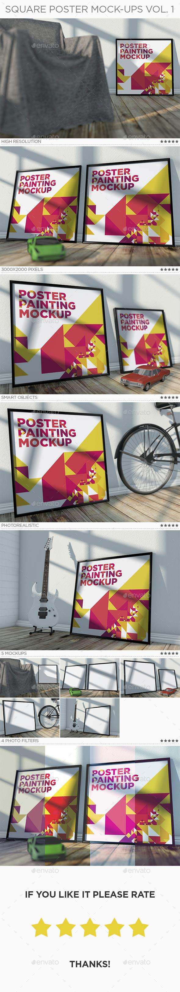 Square Poster Mock-Ups Vol. 1 - Posters Print