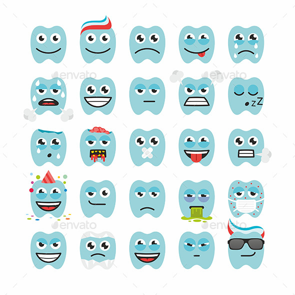 Teeth with Different Emotions - Miscellaneous Characters