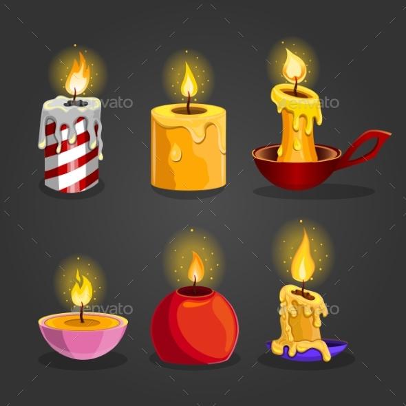 Set of Burning Candles - Birthdays Seasons/Holidays