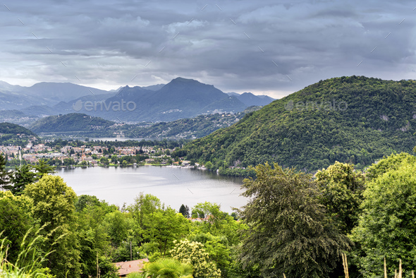Lake of Lugano at Ponte Tresa - Stock Photo - Images