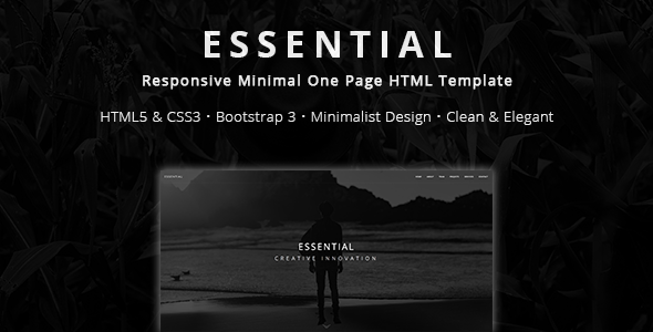 Essential - Responsive Minimal One Page HTML Template - Creative Site Templates
