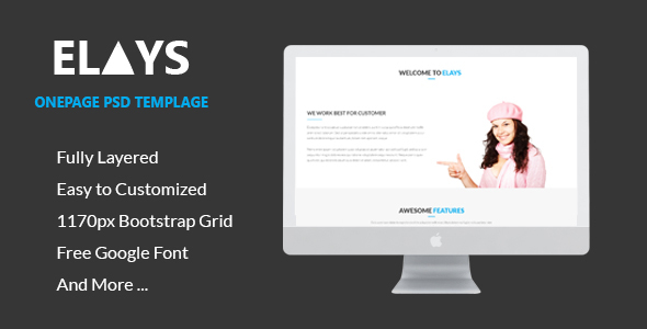 ELAYS – Multipurpose Onepage PSD Template - PSD Templates