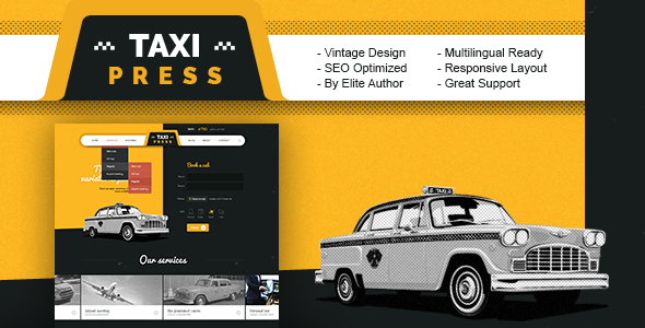 Image of TaxiPress - Taxi Company Vintage WordPress Theme
