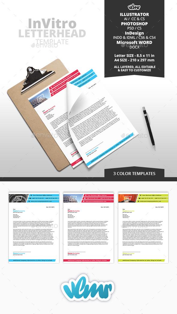 Invitro letterhead template by vlmr graphicriver invitro letterhead template stationery print templates spiritdancerdesigns Choice Image