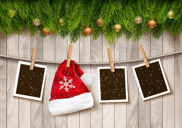 Сhristmas Background with Photos and Santa Hat - Christmas Seasons/Holidays