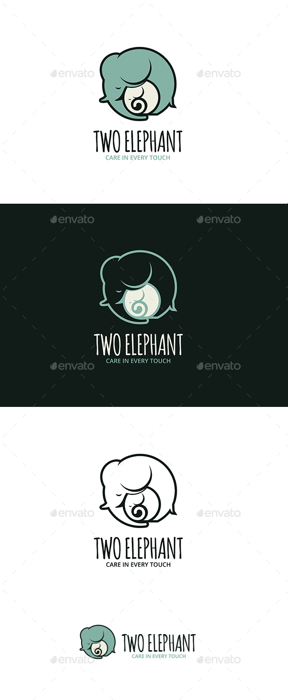 Two Elephant Logo - Animals Logo Templates