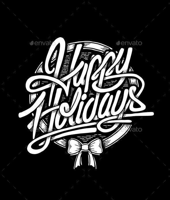 Happy Holidays Typographic Christmas Card - Christmas Seasons/Holidays