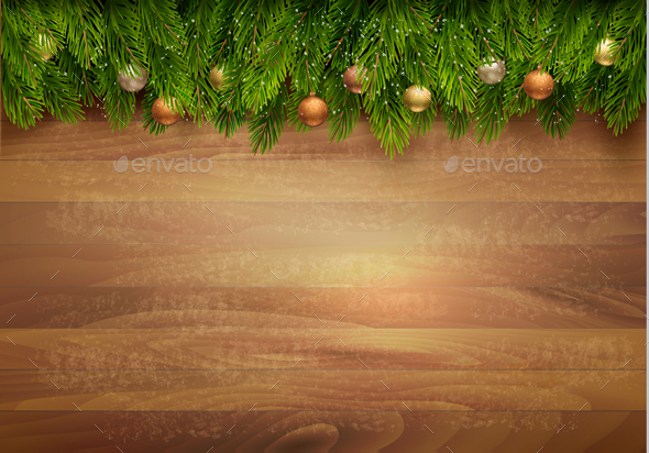 Christmas Tree Branches with Baubles on Wooden Sign - Christmas Seasons/Holidays
