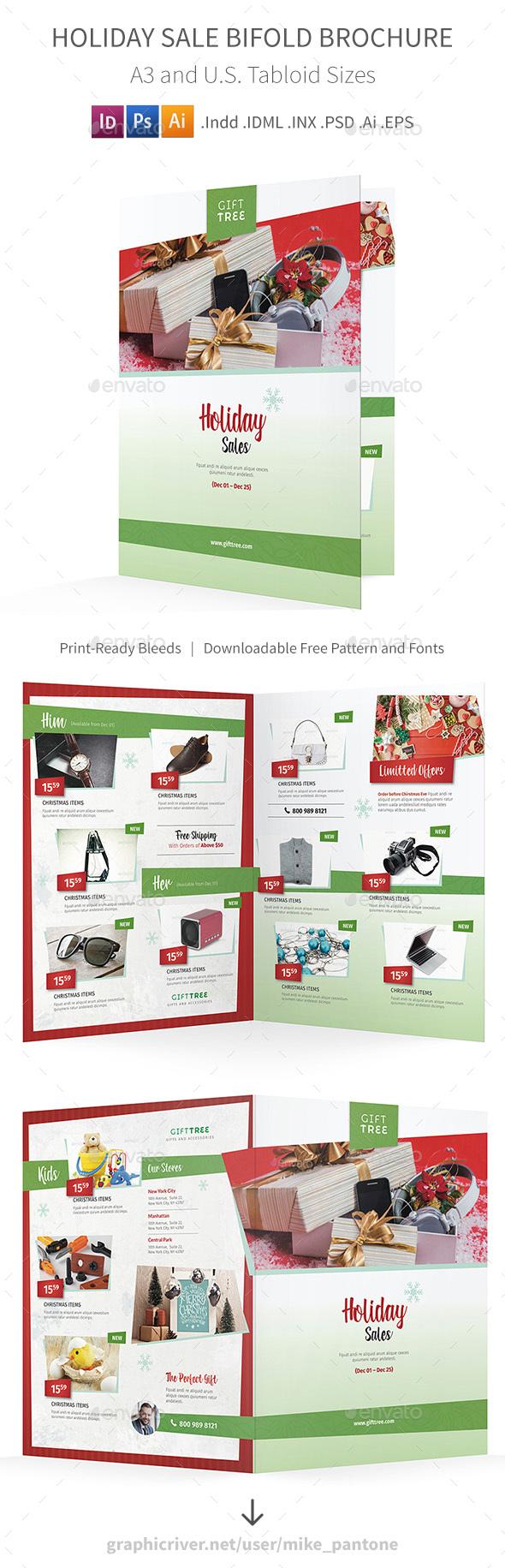 Holiday Sales Bifold / Halffold Brochure - Informational Brochures