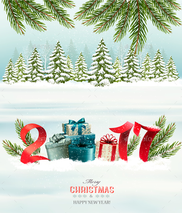 New Year Background with a 2017 and Gift Boxes - New Year Seasons/Holidays