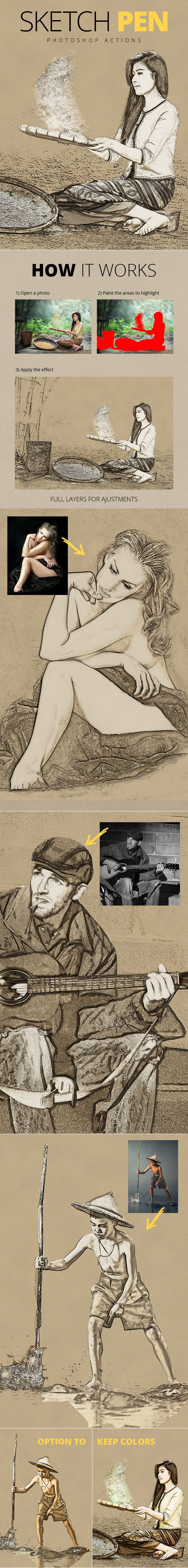 Sketch Pen - Photoshop Actions - Photo Effects Actions