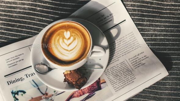 Coffee Americano Espresso Newspaper Couch Concept - Stock Photo - Images