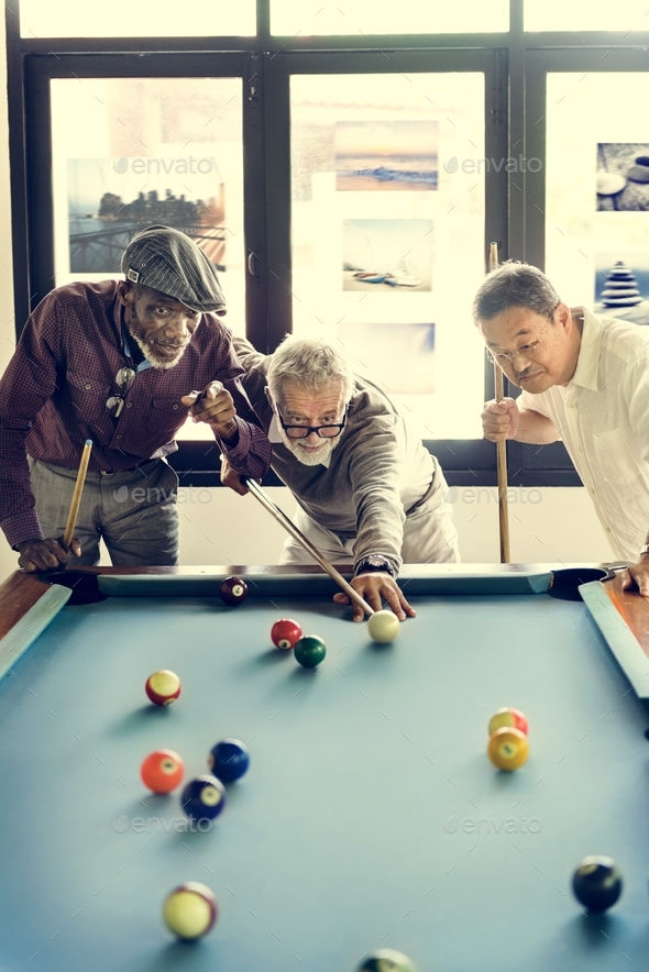Friends Playing Billiard Relaxation Happiness Concept - Stock Photo - Images