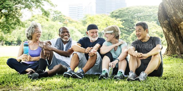 Senior Group Friends Exercise Relax Concept - Stock Photo - Images