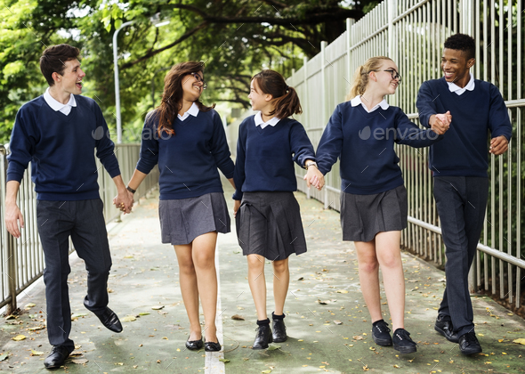 Friend Holding Hand Teenager Student Diverse Concept - Stock Photo - Images
