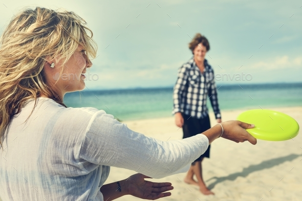 Couple Beach Cheerful Dating Destination Fun Concept - Stock Photo - Images