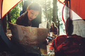 Girl Reading Map Traveling Destination Camping Concept - PhotoDune Item for Sale
