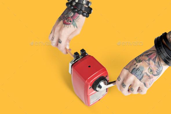 Tattoo Pencil Sharpener Graphite Supply Tool Concept - Stock Photo - Images
