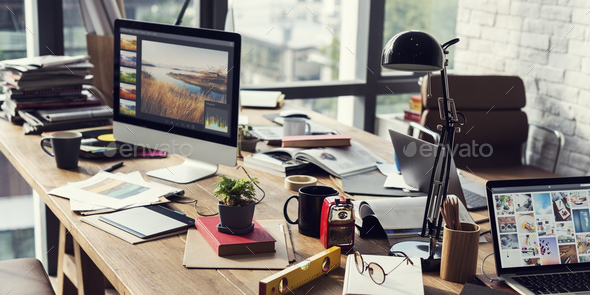 Home Office Appliance Workspace Workplace Concept - Stock Photo - Images