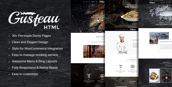 Gusteau – Elegant Food and Restaurant HTML Template - Restaurants & Cafes Entertainment