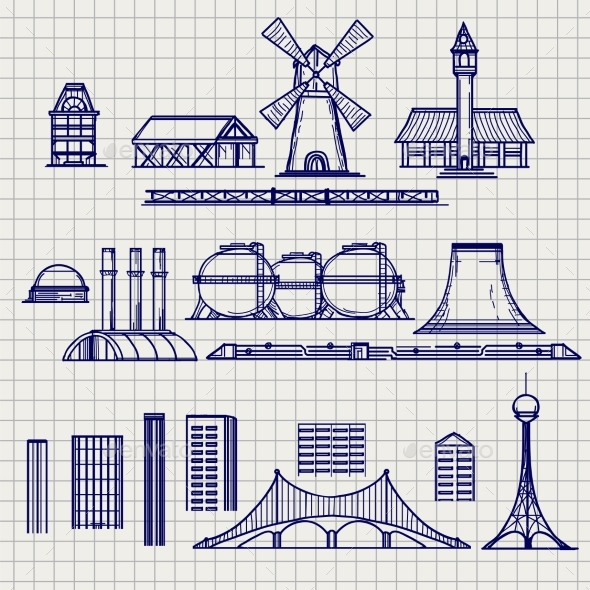 Country and City Archetictural Objects Sketch - Miscellaneous Conceptual