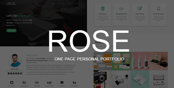 Rose – One Page Personal Portfolio Template