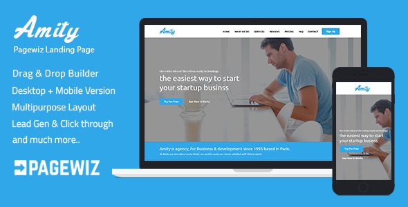 Pagewiz Responsive Landing Page Template - Amity