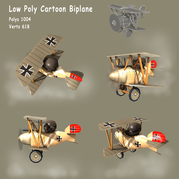 Low poly WW1 Cartoon Biplane - Albatros - 3DOcean Item for Sale