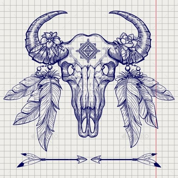 Buffalo Skull Ball Pen Sketch - Miscellaneous Conceptual