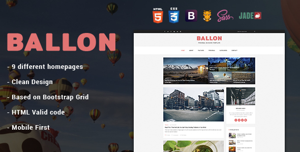 Balloon – Personal Blog HTML Template