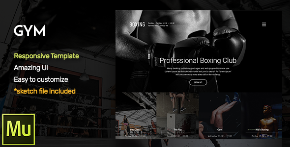 GYM – Responsive Fitness and Gym Muse CC Template + Gallery Widget