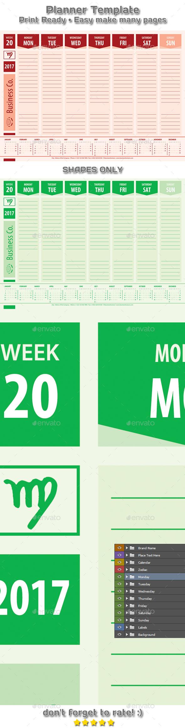 Modern Planner Calendar 2017 Business Style Template