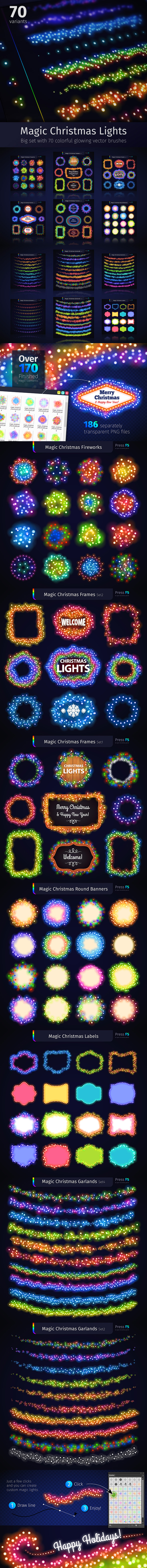 Magic Christmas Lights - Abstract Brushes