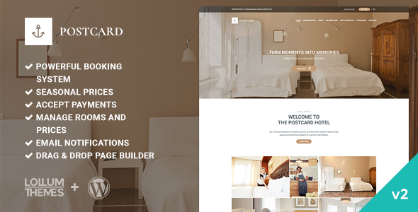 Postcard - Modern Hotel WordPress Theme - Travel Retail